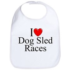 """I Love (Heart) Dog Sled Races"" Bib"