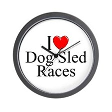 """I Love (Heart) Dog Sled Races"" Wall Clock"