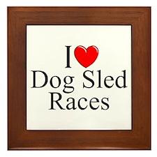 """""""I Love (Heart) Dog Sled Races"""" Framed Tile"""