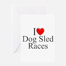 """I Love (Heart) Dog Sled Races"" Greeting Card"