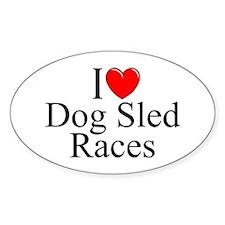 """I Love (Heart) Dog Sled Races"" Oval Decal"