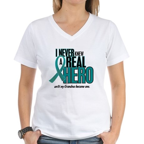 Never Knew A Hero 2 Teal (Grandma) Women's V-Neck