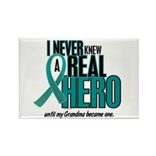 Never Knew A Hero 2 Teal (Grandma) Rectangle Magne