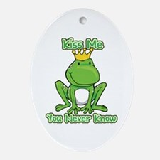 You Never Know Frog Oval Ornament