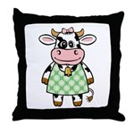 Dressed Up Cow Throw Pillow