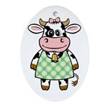 Dressed Up Cow Oval Ornament
