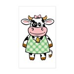 Dressed Up Cow Rectangle Sticker