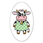 Dressed Up Cow Oval Sticker