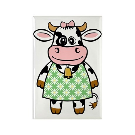 Dressed Up Cow Rectangle Magnet