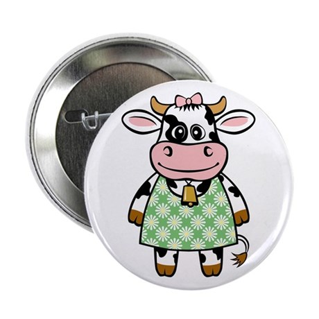 """Dressed Up Cow 2.25"""" Button"""