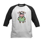 Dressed Up Cow Kids Baseball Jersey