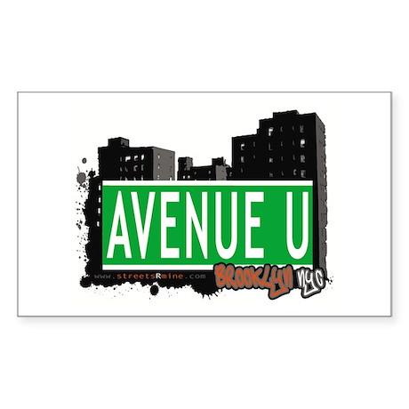 AVENUE U, BROOKLYN, NYC Rectangle Sticker