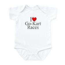 """""""I Love (Heart) Go-Kart Races"""" Infant Bodysuit"""