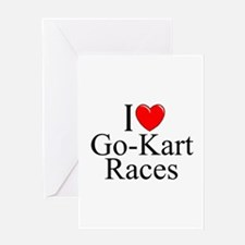 """I Love (Heart) Go-Kart Races"" Greeting Card"