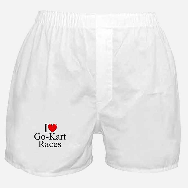"""I Love (Heart) Go-Kart Races"" Boxer Shorts"
