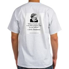 "Chesterton Signature Grey T: ""Fallacies"""