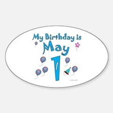May 1st Birthday Oval Decal
