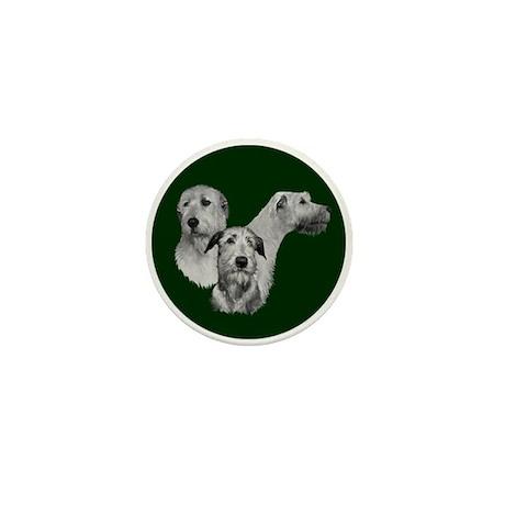 Irish Wolfhound Dark Green Mini Button