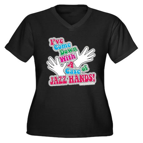 Jazz Hands! Women's Plus Size V-Neck Dark T-Shirt