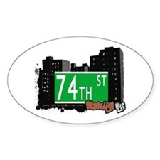 74th STREET, BROOKLYN, NYC Oval Decal
