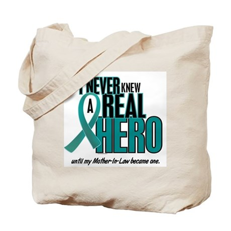 Never Knew A Hero 2 Teal (Mother-In-Law) Tote Bag