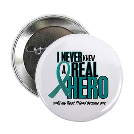 """Never Knew A Hero 2 Teal (Best Friend) 2.25"""" Butto"""