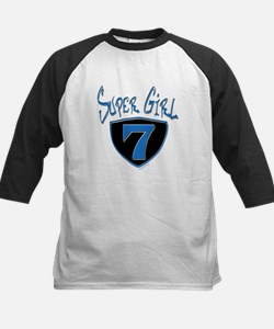 Super Girl #7 Kids Baseball Jersey