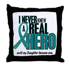 Never Knew A Hero 2 Teal (Daughter) Throw Pillow