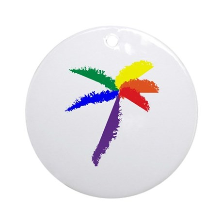 Rainbow Palmtree Ornament (Round)