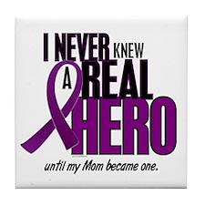 Never Knew A Hero 2 Purple (Mom) Tile Coaster