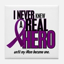 Never Knew A Hero 2 Purple (Mom) Tile Coaster