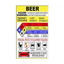 Warning Beer Hazardour Materi Rectangle Bumper Stickers