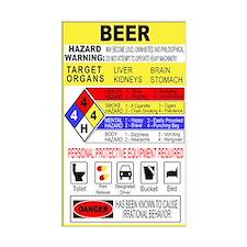 Warning Beer Hazardour Materi Rectangle Bumper Stickers