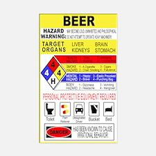 Warning Beer Hazardour Materi Rectangle Decal