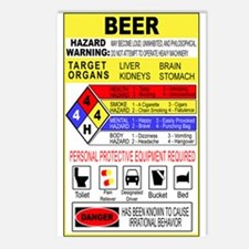 Warning Beer Hazardour Materi Postcards (Package o