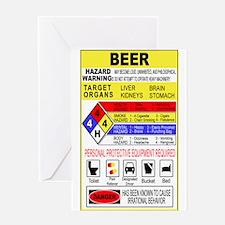Warning Beer Hazardour Materi Greeting Card