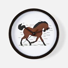 Bay Horse Anatomy Chart Wall Clock