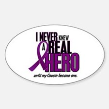 Never Knew A Hero 2 Purple (Cousin) Oval Decal