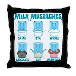 Milk Mustaches Throw Pillow