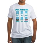 Milk Mustaches Fitted T-Shirt