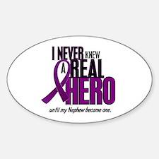 Never Knew A Hero 2 Purple (Nephew) Oval Decal