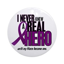 Never Knew A Hero 2 Purple (Niece) Ornament (Round