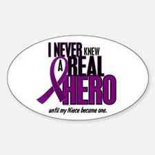 Never Knew A Hero 2 Purple (Niece) Oval Decal