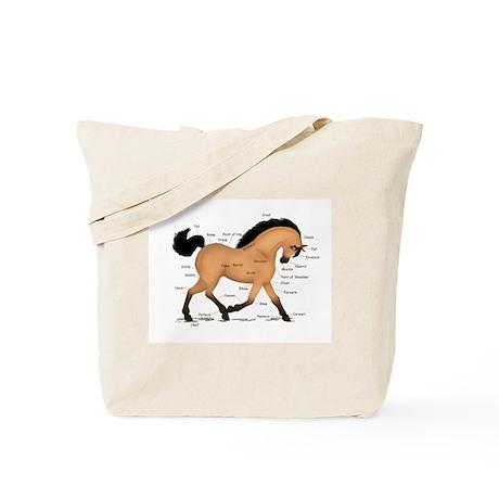 Buckskin Dun Horse Anatomy Chart Tote Bag