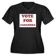 Vote for CASANDRA Women's Plus Size V-Neck Dark T-