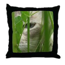 Cat in Grass Throw Pillow
