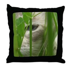 Cat in Grass Throw Pillow