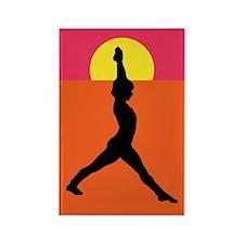 Yoga Warrior Pose Rectangle Magnet