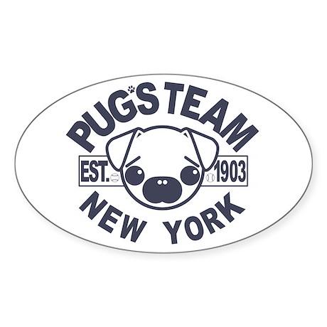 PUG'S TEAM Oval Sticker