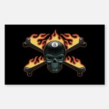 Flaming 8 Skull Decal